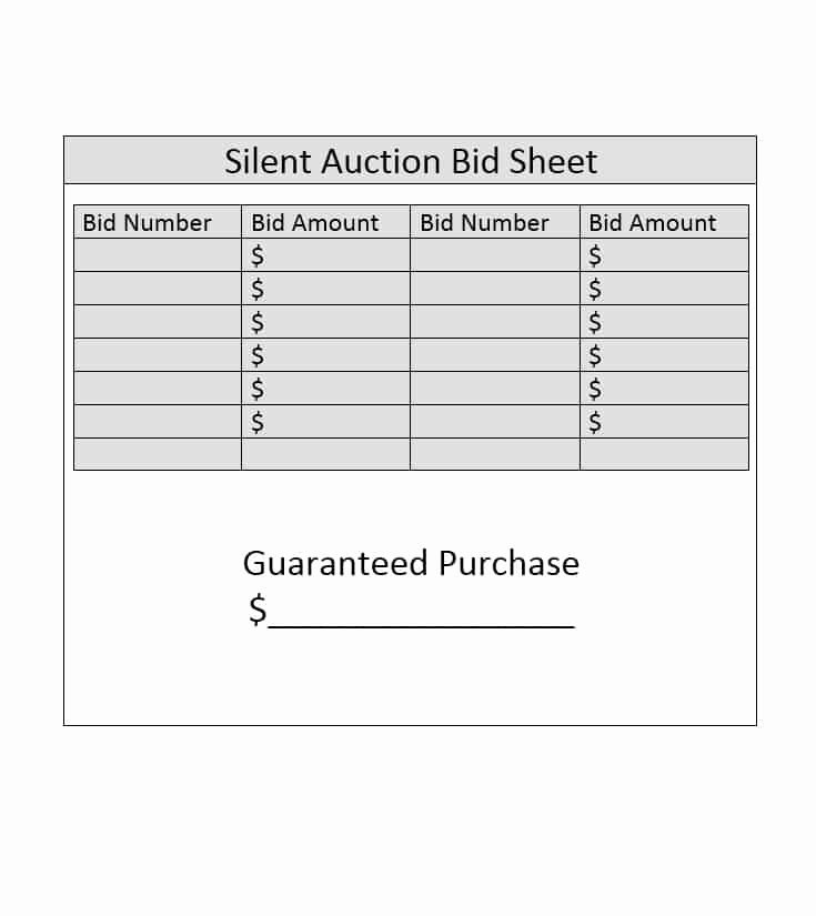 Silent Auction Sheet Template Elegant 40 Silent Auction Bid Sheet Templates [word Excel