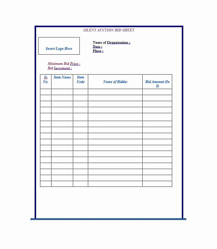Silent Auction Sheet Template Elegant 40 Silent Auction Bid Sheet Templates [word Excel]