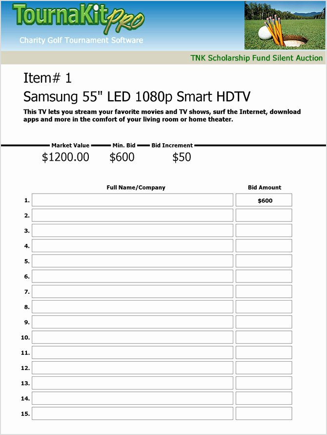 Silent Auction Sheet Template Elegant Charity Auction forms 108 Silent Auction Bid
