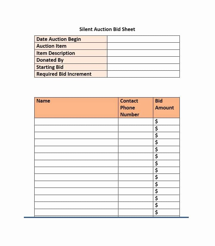 Silent Auction Sheet Template Fresh 40 Silent Auction Bid Sheet Templates [word Excel