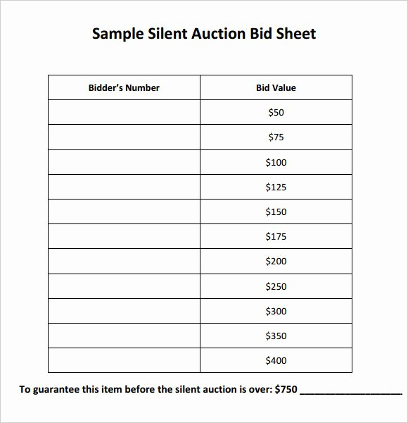 Silent Auction Sheet Template Fresh Silent Auction Bid Sheet Template 9 Download Free