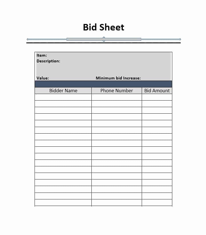 Silent Auction Sheet Template Lovely 40 Silent Auction Bid Sheet Templates [word Excel