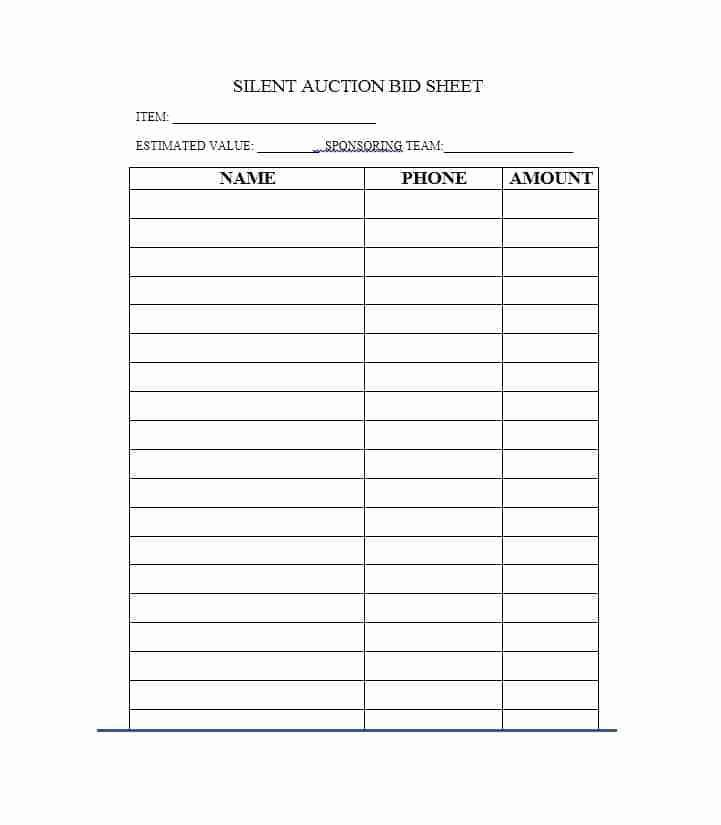Silent Auction Sheet Template Lovely Free Silent Auction Bid Sheet Templates Word Excel