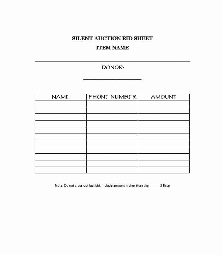 Silent Auction Sheet Template Luxury 40 Silent Auction Bid Sheet Templates [word Excel