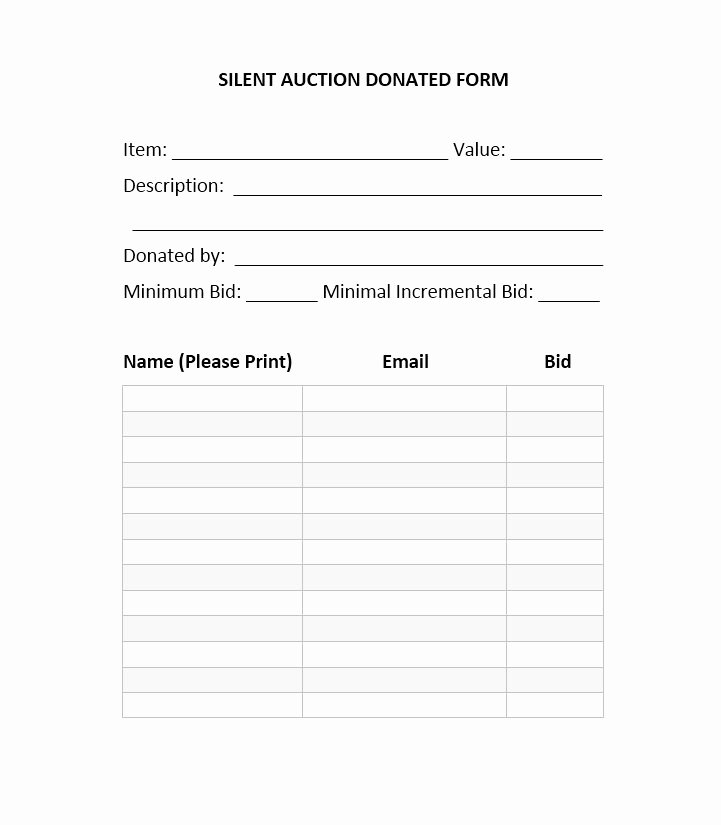 Silent Auction Sheet Template Luxury 40 Silent Auction Bid Sheet Templates [word Excel]