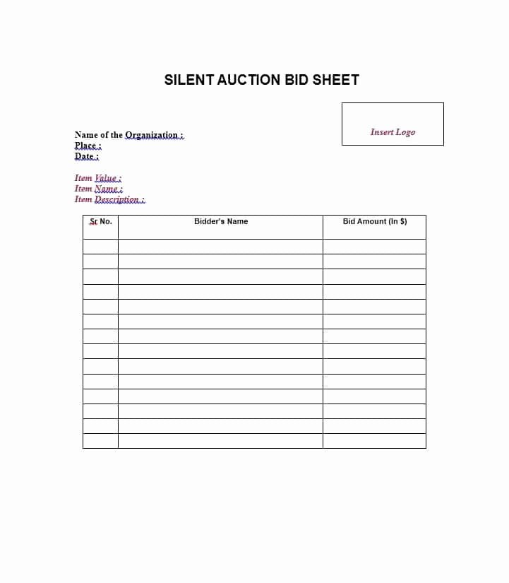 Silent Auction Sheet Template New 40 Silent Auction Bid Sheet Templates [word Excel]