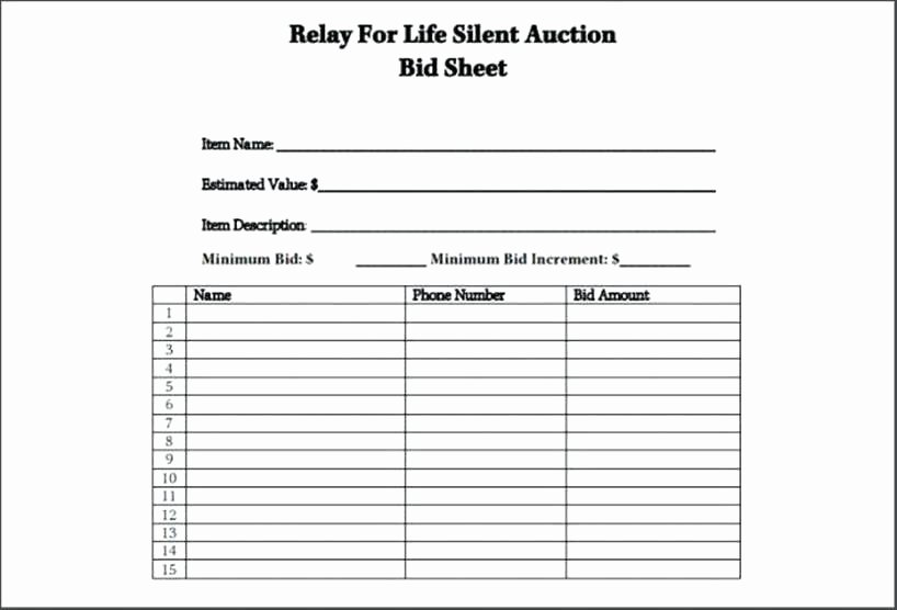 Silent Auction Template Free Lovely Silent Auction Bid Sheet Template Excel Sheets – Peero Idea