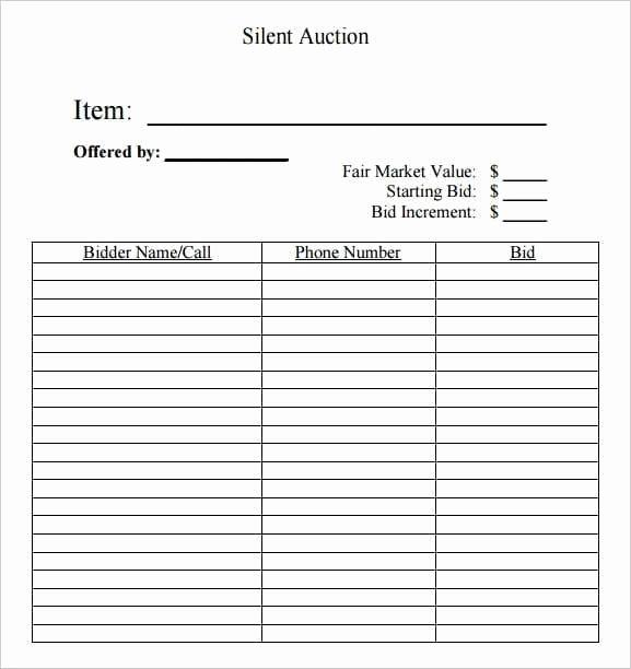 Silent Auction Template Free Unique 6 Silent Auction Bid Sheet Templates Free Sample Templates