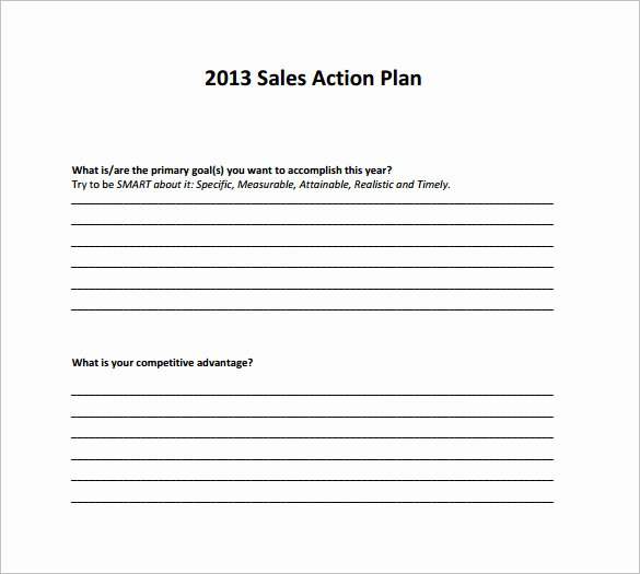 Simple Action Plan Template Best Of Sample Sales Action Plan 11 Example format