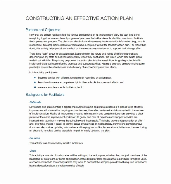 Simple Action Plan Template New Simple Action Plan Template 16 Free Sample Example