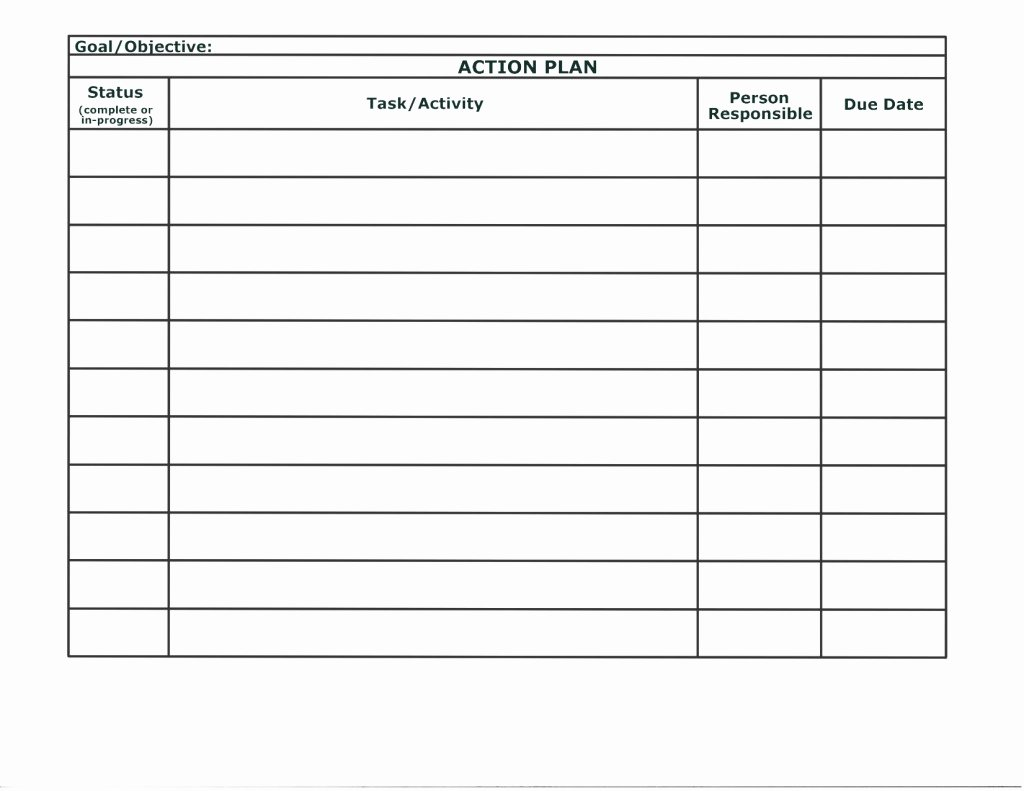 Simple Action Plan Template New Simple Action Plan Template Word Example Featuring Table