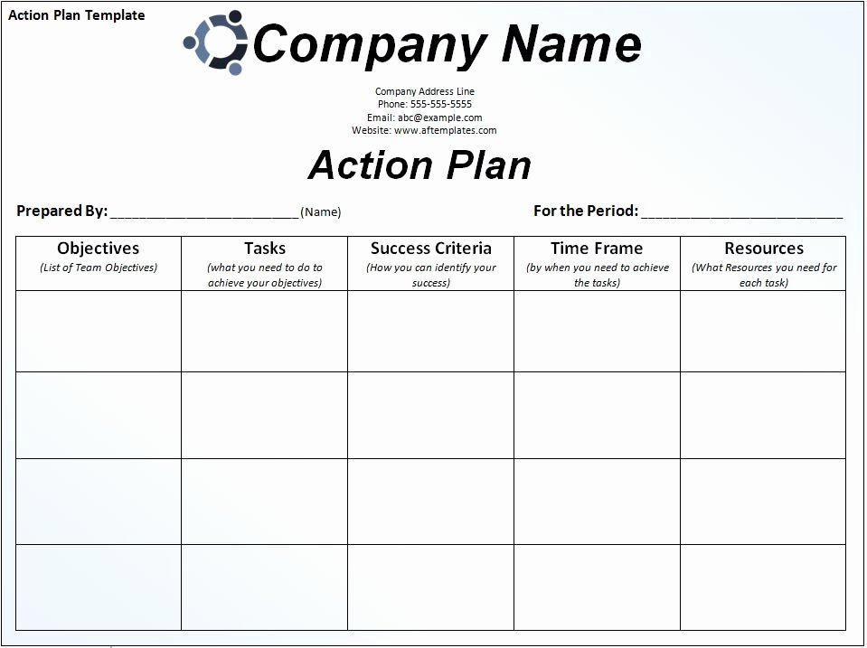 Simple Action Plan Template New Simple Business Action Plan Template Sample with Pany