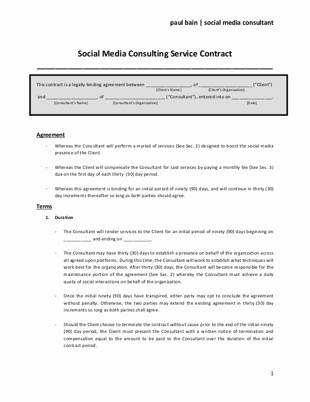 Simple Advertising Contract Template Lovely social Media Consulting Services Contract