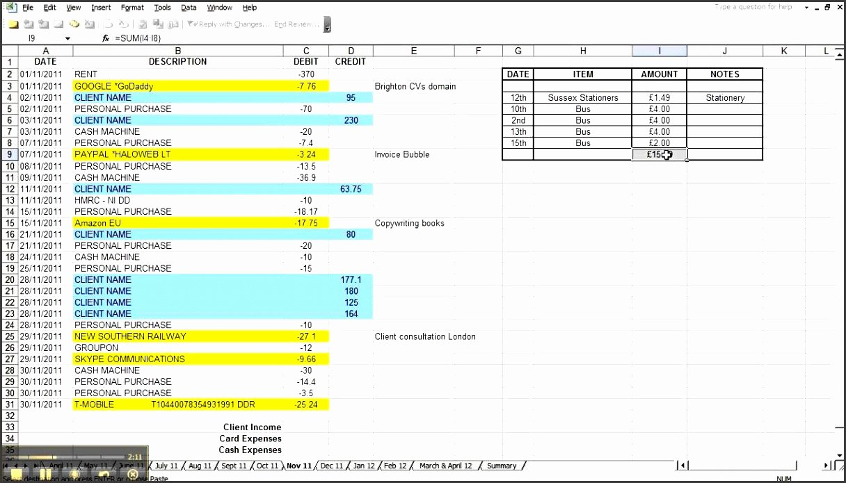 Simple Bookkeeping Spreadsheet Template Awesome 7 Excel Bookkeeping Template Sampletemplatess