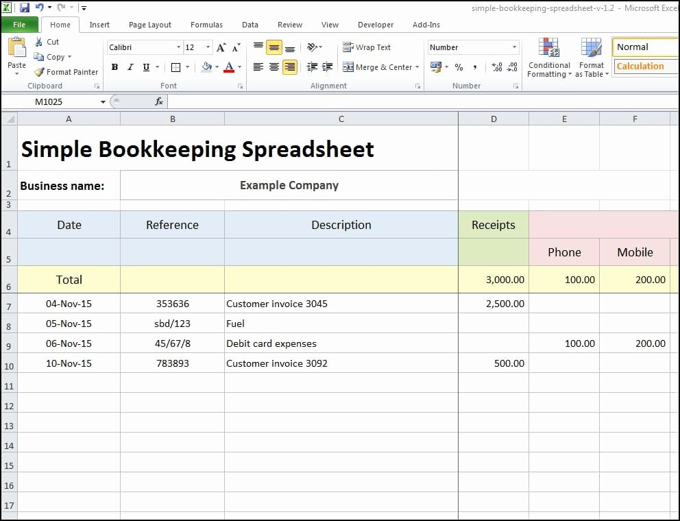 Simple Bookkeeping Spreadsheet Template Inspirational 8 Excel Bookkeeping Templates Excel Templates
