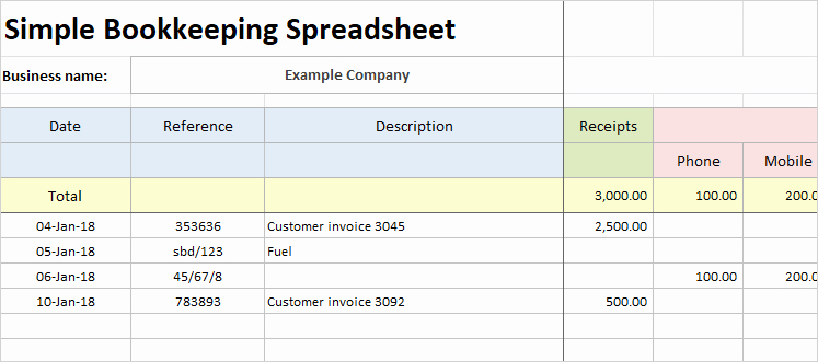 Simple Bookkeeping Spreadsheet Template Unique Simple Bookkeeping Spreadsheet