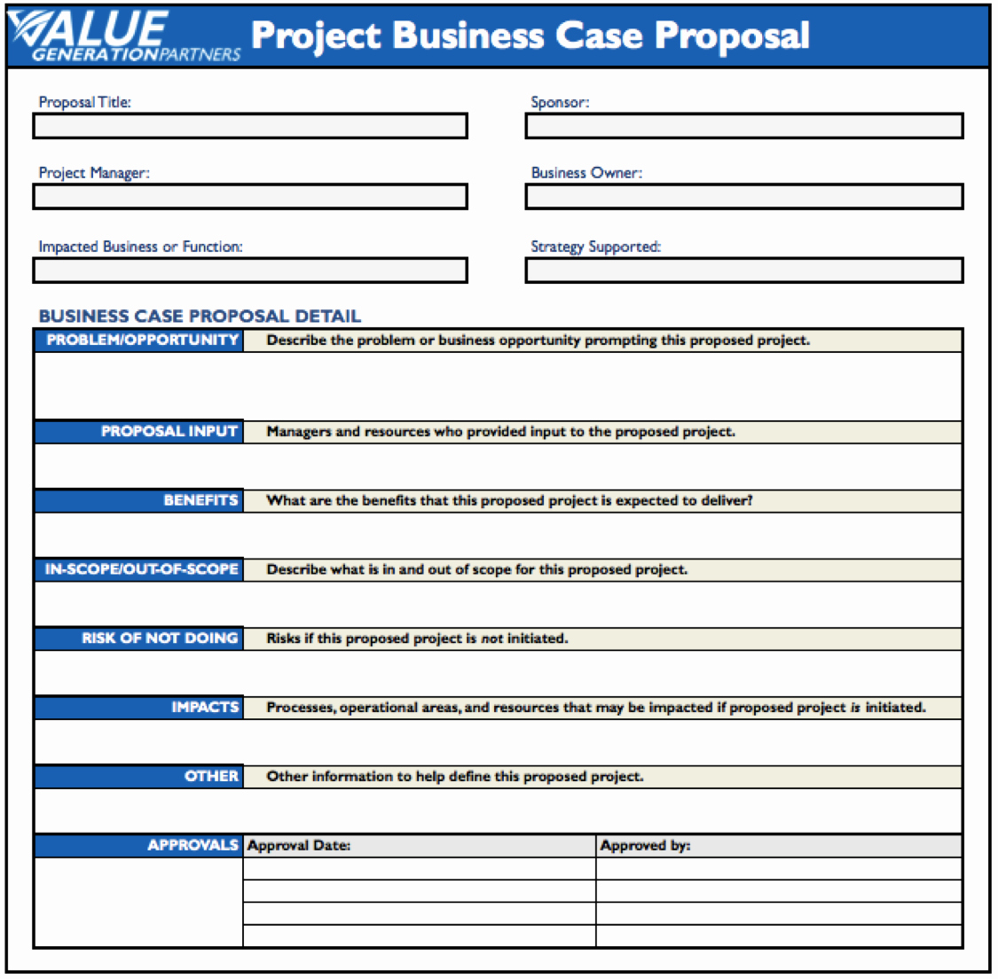Simple Business Case Template Beautiful Generating Value by Using A Project Business Case Proposal