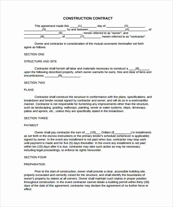 Simple Construction Contract Template Best Of 9 Construction Contract Templates – Pdf Word Pages