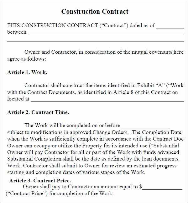 Simple Construction Contract Template Inspirational Construction Contract 7 Free Pdf Download