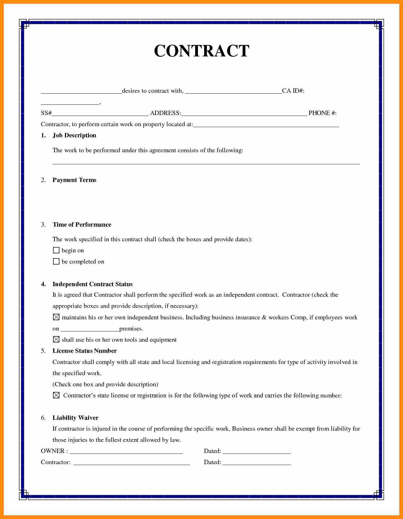 Simple Construction Contract Template Inspirational Contract for Construction Work Template