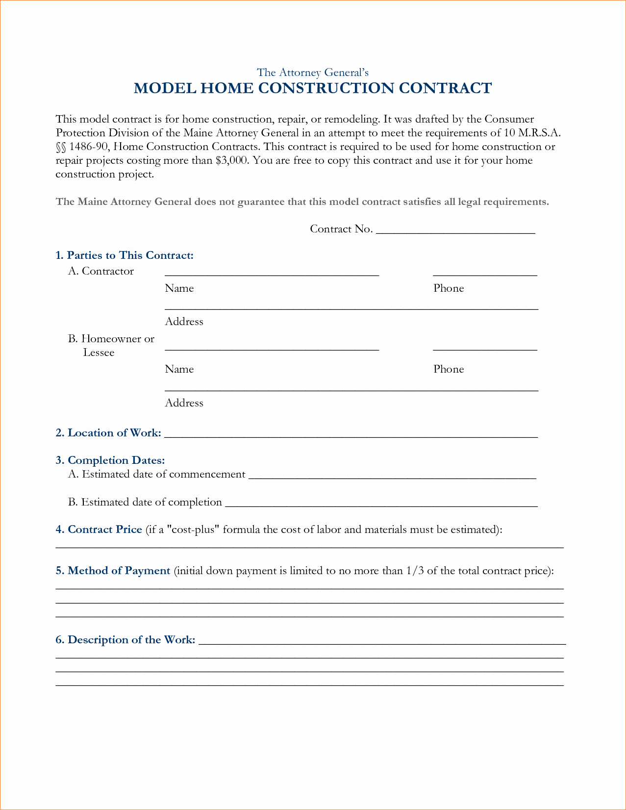 Simple Construction Contract Template Lovely Construction Contract Template