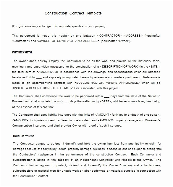 Simple Construction Contract Template Unique 15 Legal Contract Templates Free Word Pdf Documents