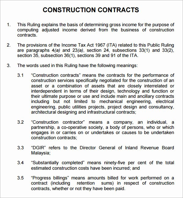 Simple Construction Contract Template Unique Construction Contract 7 Free Pdf Download