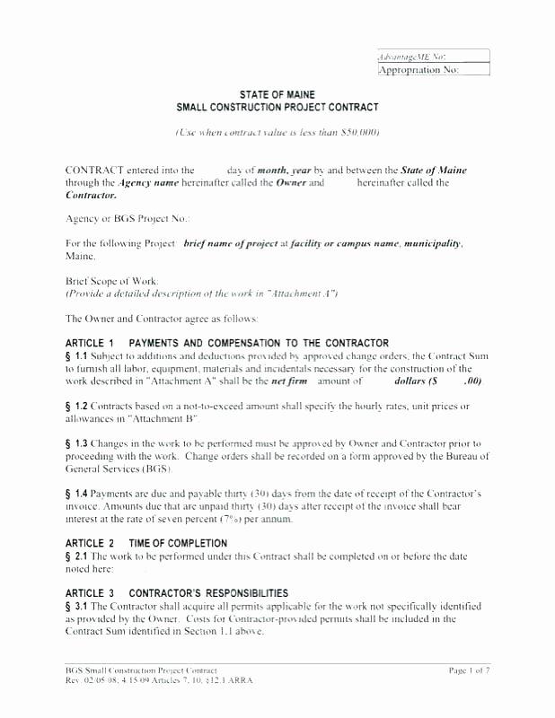 Simple Construction Contract Template Unique Simple Construction Contract form – Emailers