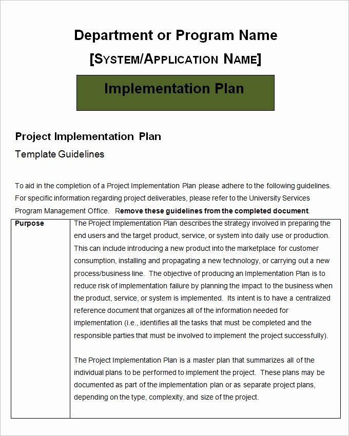 Simple Implementation Plan Template Elegant Project Implementation Plan Template 5 Free Word Excel