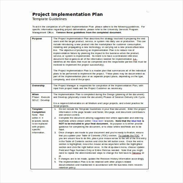 Simple Implementation Plan Template Luxury 10 Implementation Plan Templates Doc Pdf