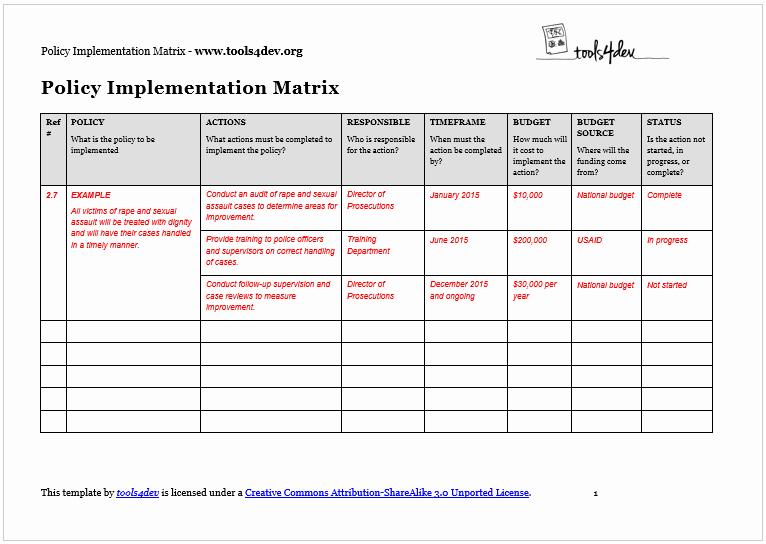 Simple Implementation Plan Template Unique Policy Implementation Matrix Template
