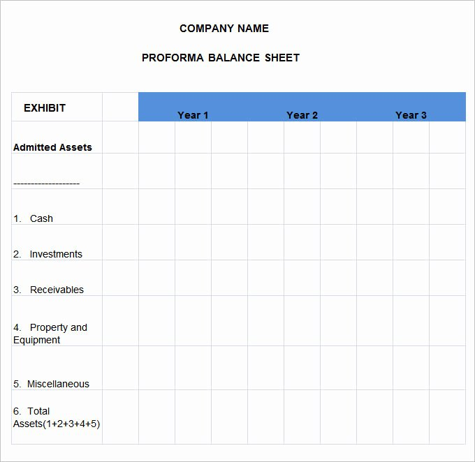 Simple Pro forma Template Lovely Pro forma Balance Sheet 8 Free Excel Pdf Documents