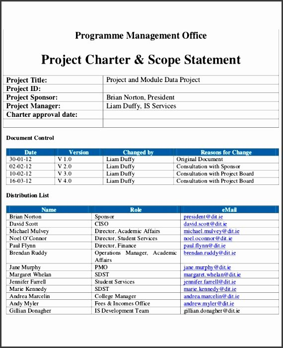 Simple Project Charter Template Awesome 10 Simple Project Charter Template Sampletemplatess