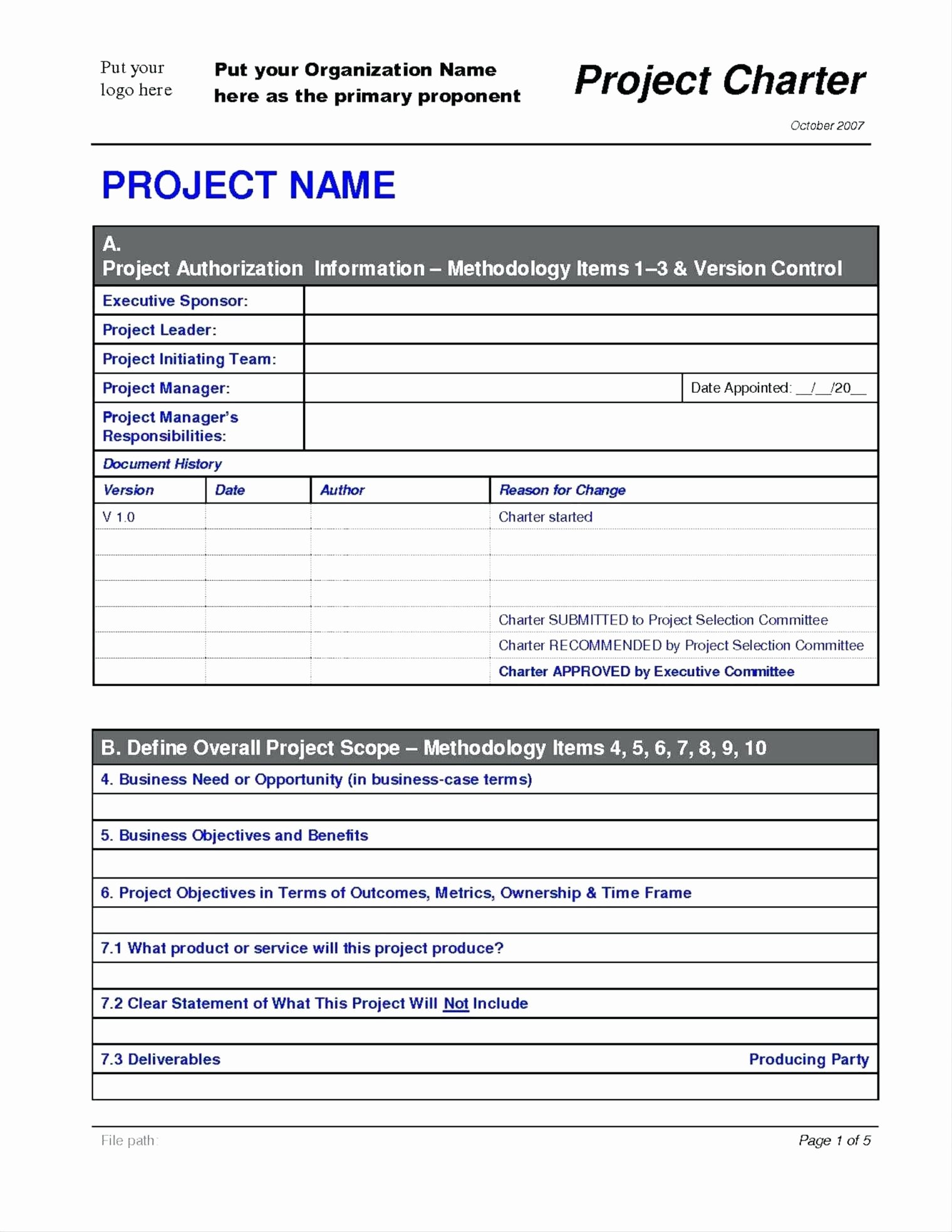 Simple Project Charter Template Best Of sop Project Management Template Fire Dept sop Template