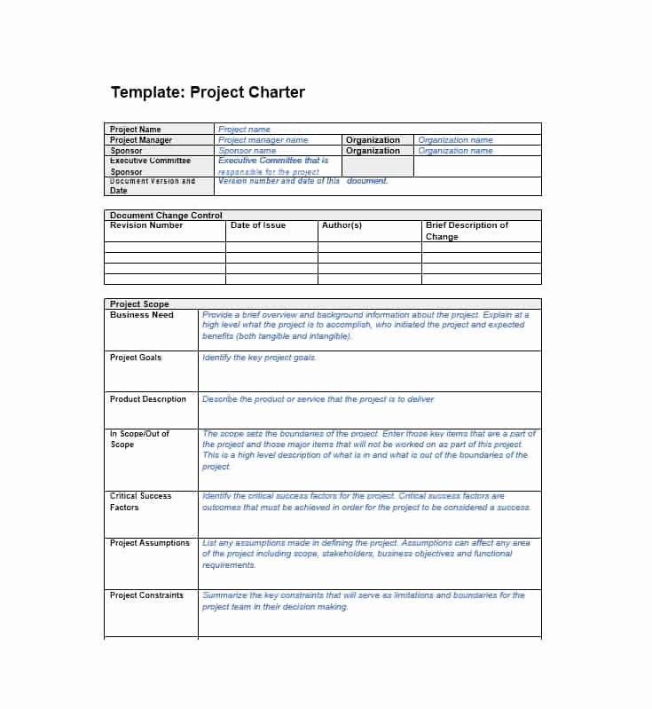 Simple Project Charter Template Inspirational 40 Project Charter Templates & Samples [excel Word