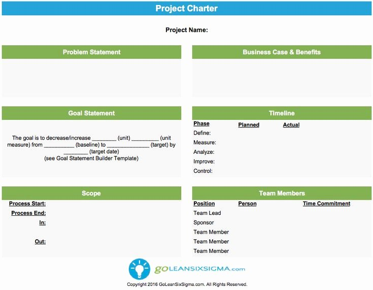 Simple Project Charter Template Lovely Project Charter Six Sigma