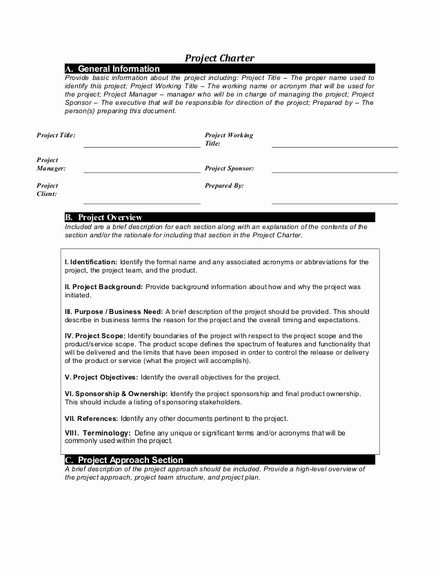 Simple Project Charter Template Luxury Project Charter Template
