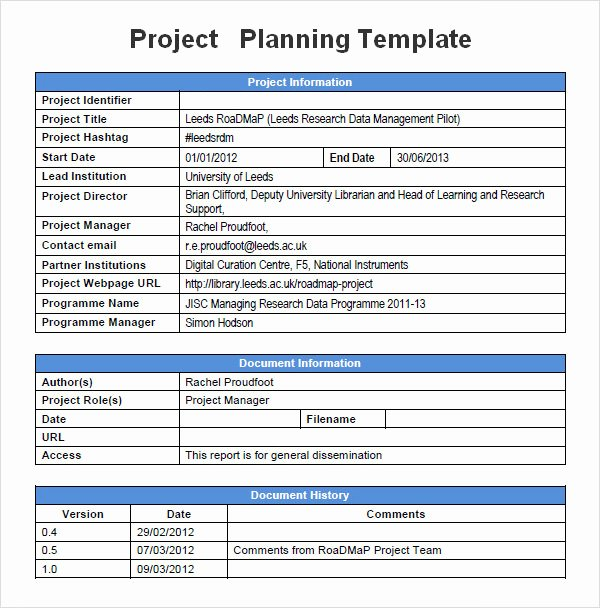 Simple Project Proposal Template Best Of Project Planning Template 5 Free Download for Word