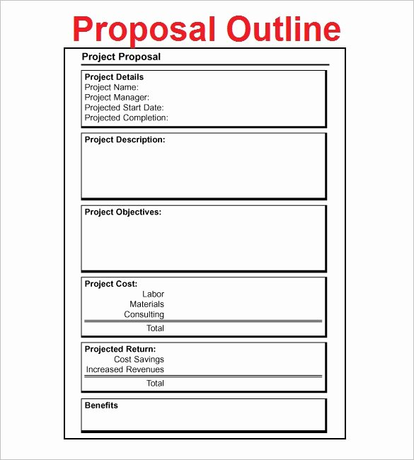 Simple Project Proposal Template Inspirational Proposal Outline Templates 20 Free Free Word Pdf