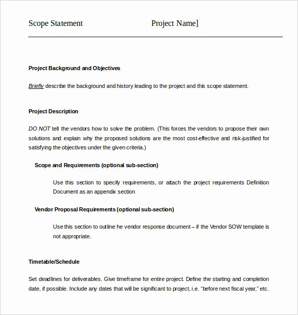 Simple Project Scope Template Luxury Project Scope Example Pdf