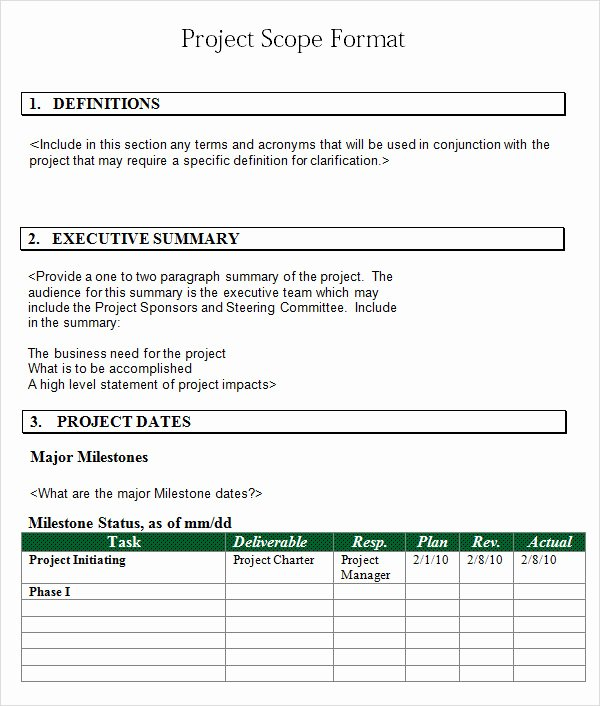Simple Project Scope Template New Project 7 Free Download for Word Pdf