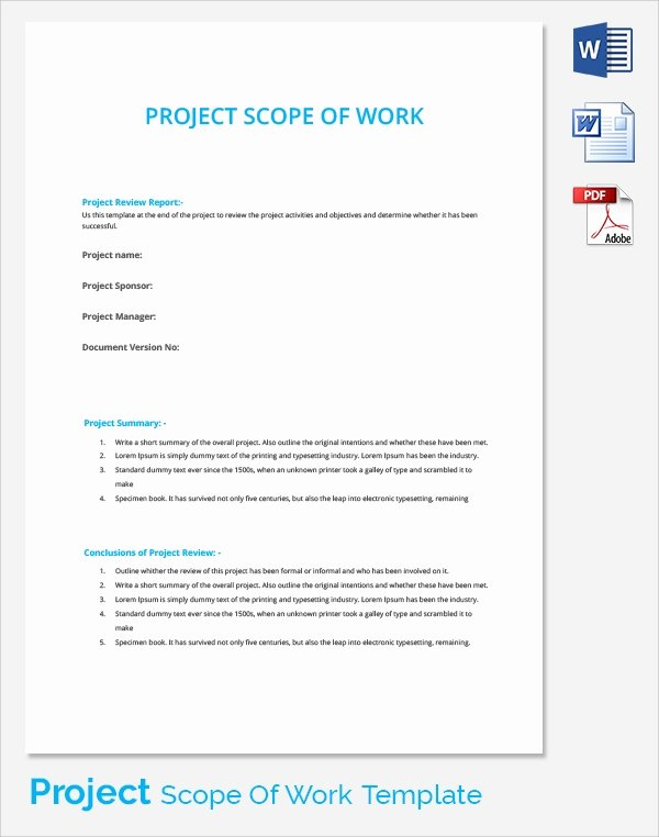 Simple Project Scope Template New Scope Of Work 22 Dowload Free Documents In Pdf Word Excel