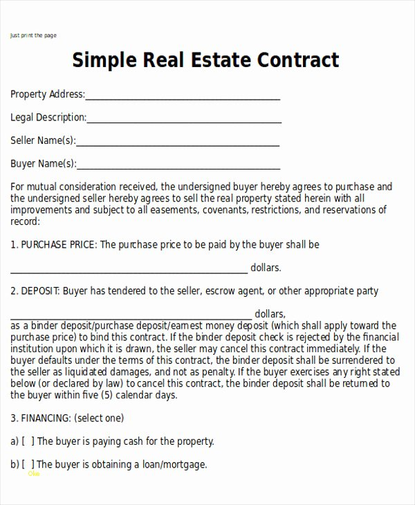 Simple Purchase Agreement Template Awesome Elegant Simple Real Estate Purchase Agreement Template