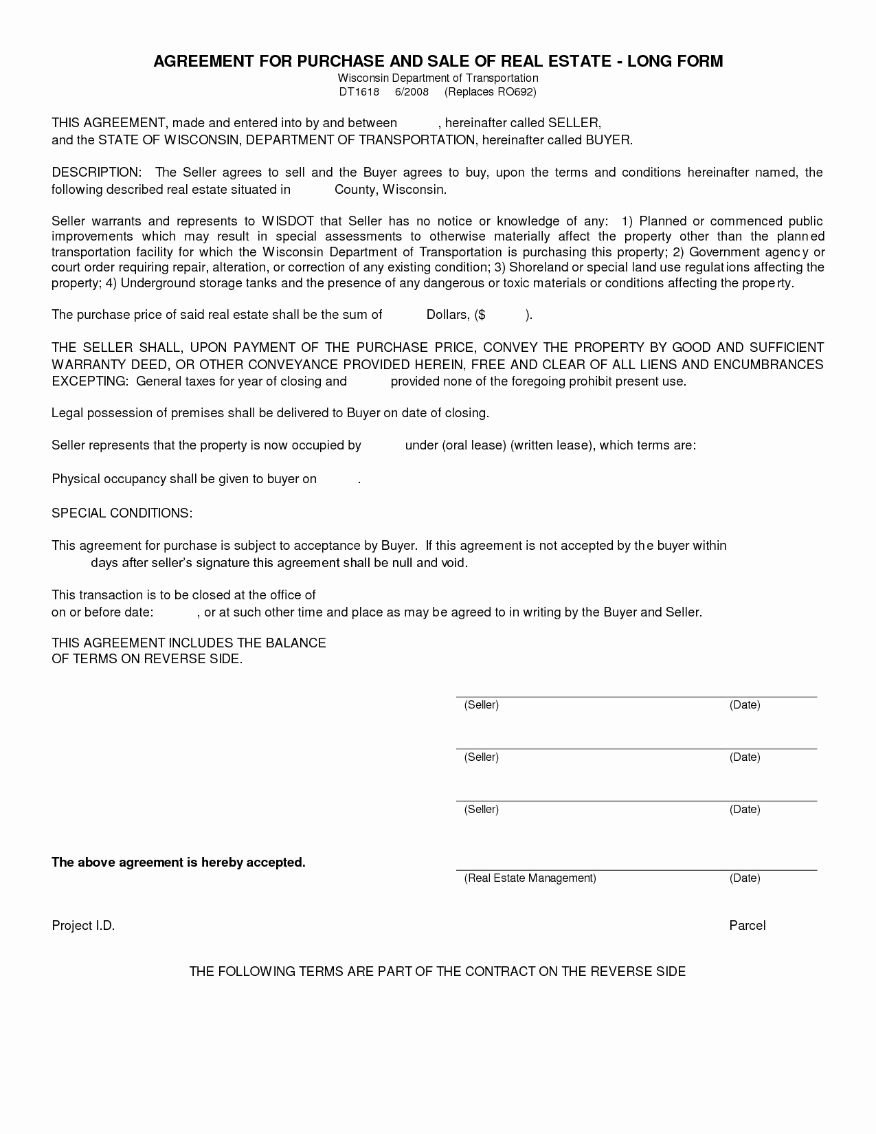 Simple Purchase Agreement Template Awesome Simple Land Purchase Agreement form
