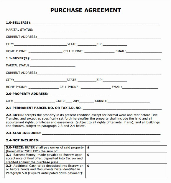 Simple Purchase Agreement Template Beautiful Purchase Agreement 7 Free Samples Examples format