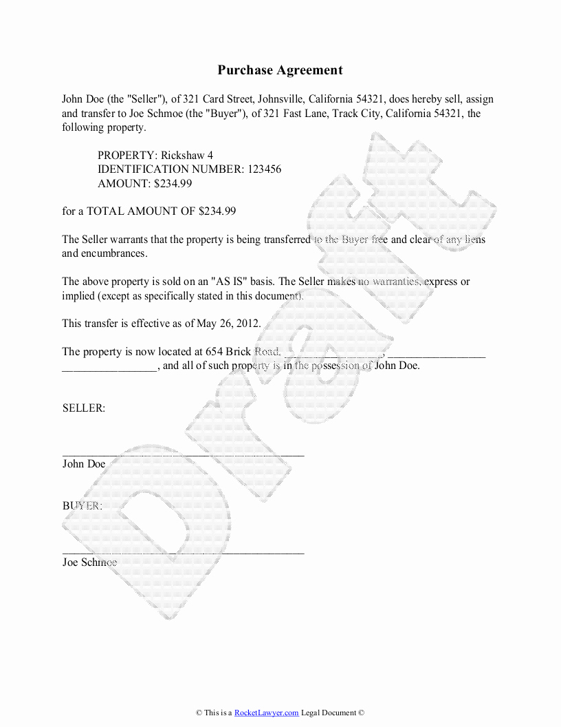 Simple Purchase Agreement Template Best Of 10 Best Of Simple Vehicle Purchase Agreement
