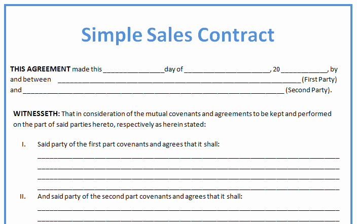 Simple Purchase Agreement Template Best Of Simple Business Contract Example for Sales with Blank