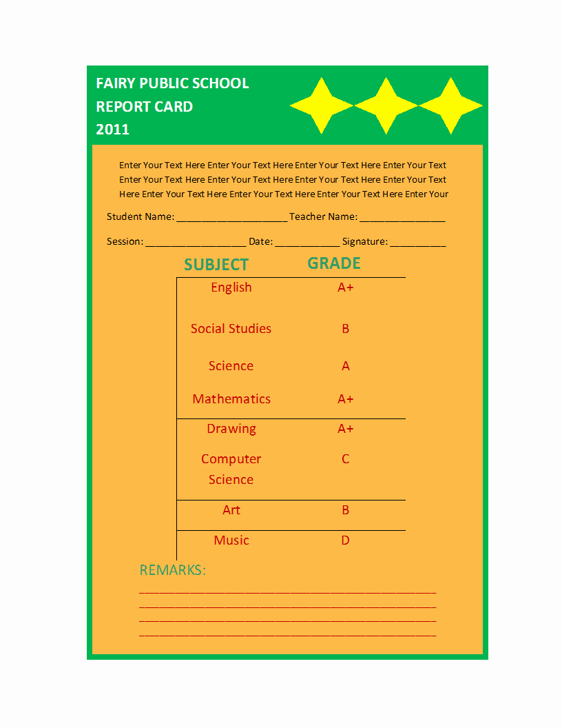 Simple Report Card Template Beautiful Free Printable Report Templates