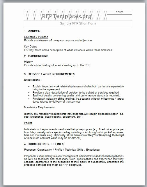 Simple Rfp Template Word Elegant Short form Rfp Sample Rfp Templates Rfp Templates