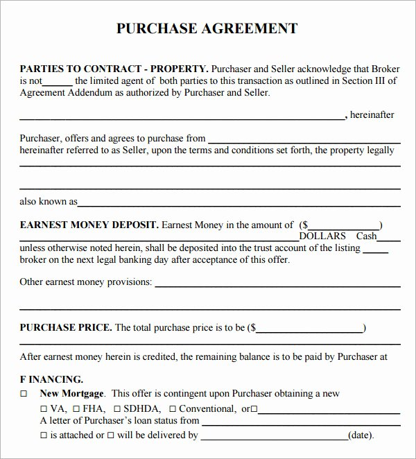 Simple Sales Agreement Template Fresh Purchase Agreement 9 Download Free Documents In Pdf Word